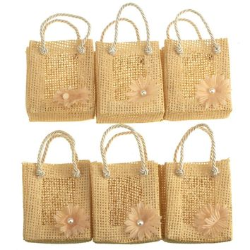 Mini Woven Favor Tote Bags, Daisy, Natural, 3-Inch, 6-Piece