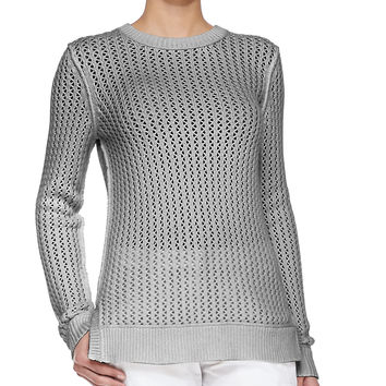 Zigzag Crewneck Cotton-Cashmere Sweater, Size: SMALL, PEARL GREY - Michael Kors