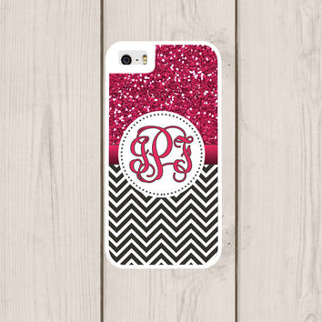 Faux Glitter Chevron Personalized Phone Case, Monogram, Custom IPhone 4  4s, IPhone 5 5s 5c, Samsung Galaxy S3 S4 S5