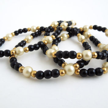 Trifari necklace - Vintage Trifari necklace - Black and gold beads and pearls - Mothers day gift (Ready to ship)