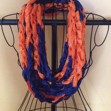 Denver Broncos navy and orange Team Spirit Crocheted Infinity Chain Scarf, chain scarf, infinity scarf