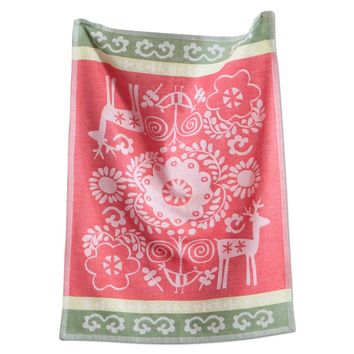 Nordic Holiday Christmas Dish Towel, Kitchen Dish Towels Cotton, Jacquard Towel