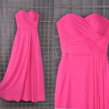 Hot Pink Long Bridesmaid Dresses, Simple Long Prom Dress, Party Dresses,Evening Dresses,Wedding Party Dresses, Bridesmaid Dresses