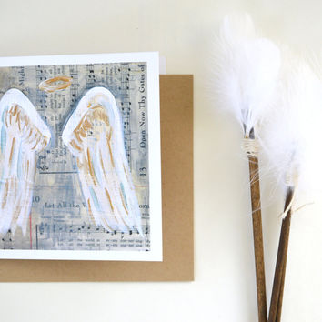 angel wings halo sympathy blank greeting card