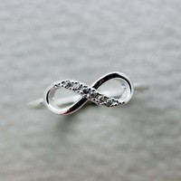 Simple Infinity Brass Ring in silver color
