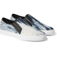 Balmain - Leather and Printed Canvas Slip-On Sneakers | MR PORTER