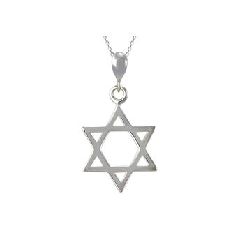 925 Sterling Silver Jewish Star of David Pendant Necklace on 18 Inch Chain