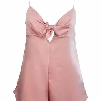 Sweetheart Satin Romper Playsuit in Soft Pink
