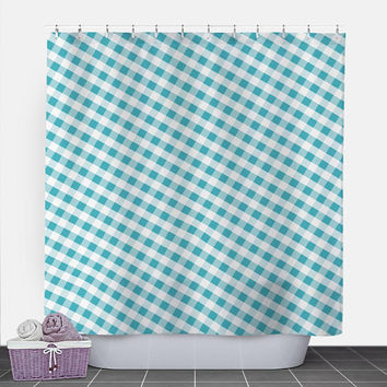 Turquoise Gingham Shower Curtain - Pattern White Turquoise Gingham - 71x74 - PVC liner optional - Made to Order