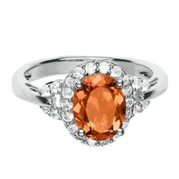Lab-Created Orange & White Sapphire Ring in Sterling Silver - Shop All Jewelry - Jewelry - Helzberg Diamonds