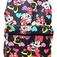 "Disney Minnie Mouse Allover Print 16"" Girls Large School Backpack-black"