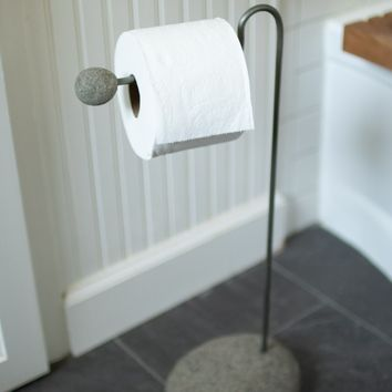 Wire And River Rock Toilet Paper Stand