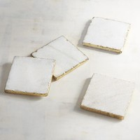 Marble with Golden Trim Coaster Set of 4