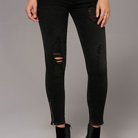 Distressed Ankle Zipper Jeans