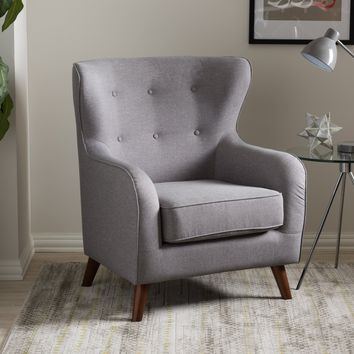 Baxton Studio Ludwig Mid-Century Modern Light Grey Fabric Upholstered Walnut Wood Button-Tufted Armchair Set of 1