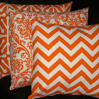 ORANGE Pillows TRIO chevron, damask,  jacks Decorator Throw Pillow COVERS set of Three 18 inch tangerine, natural Zig Zag 18""