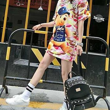 Fashion Casual Cartoon Bear Letter Print Loose Short Sleeve T-shirt Mini Dress