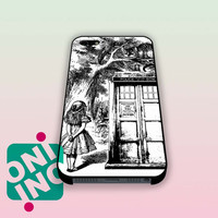 Alice In Wonderland And Cat On Doctor Who Box iPhone Case Cover | iPhone 4s | iPhone 5s | iPhone 5c | iPhone 6 | iPhone 6 Plus | Samsung Galaxy S3 | Samsung Galaxy S4 | Samsung Galaxy S5
