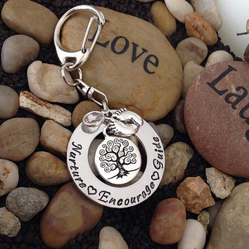 Teacher - Nurses - Doula - Midwife Gift - Inspirational jewelry-  Nurture Encourage Guide key chain.