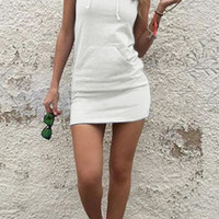 White Sleeveless Front Pocket Hoodie Mini Dress