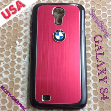 BMW Samsung Galaxy S4 Case BMW 3D metal Logo Premium Cover for S4 / i9500 - Red