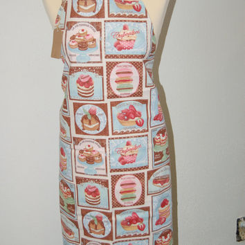 Cupcake, Macaroon KITCHEN APRON, French Fabric - Holiday Sale