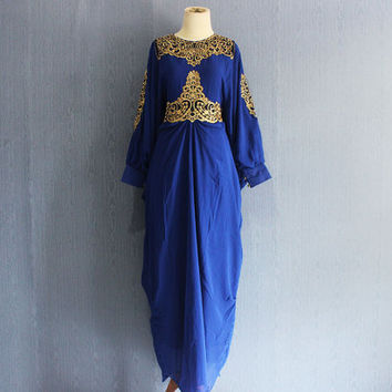 Bridesmaid Wedding Caftan Dress, Embroidery Kaftan Long Dress, Moroccan Blue Maxi Kaftan Dress, Oversized Dubai Kaftan Sequin Dress