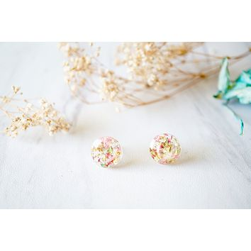Real Pressed Flowers and Resin Circle Stud Earrings in Pink Green Gold Flakes