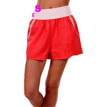 Girls Linen Shorts with Crochet Detail, Coral