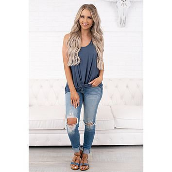 All That Matters Knotted Tank Top (Teal Denim)