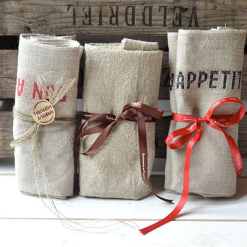 6 BON APPETIT  French country  Linen Towels / shabby chic kitchen wedding gift