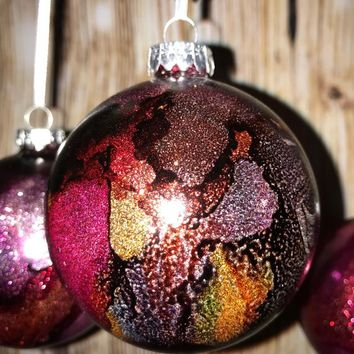 Alcohol Ink & Glitter Glass Christmas Ornament Bulb|Handmade|Beautiful colors|Made in US|Purples and Reds|Stained Glass look|