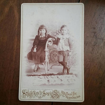 Adorable young Victorian Sister and brother cabinet card