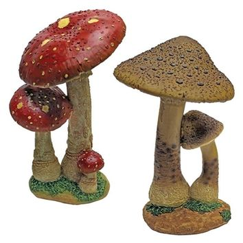 SheilaShrubs.com: Mystic Forest Red and Tan Mushroom Statues (Set of 2) QM922302 by Design Toscano: Garden Sculptures & Statues