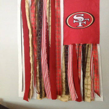Football Flag - San Francisco 49ers Inspired Repurposed Wall Fiber Art - Whimsical Novelty Sports Flag
