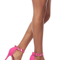 Hot Pink Faux Nubuck Gold Studded Ankle Strap Single Sole Heels