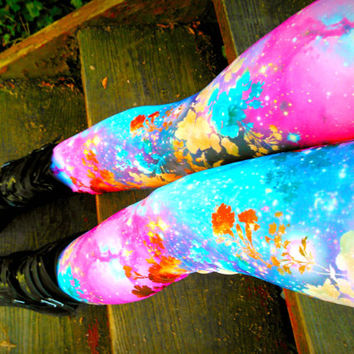 Galaxy garden Leggings pants Space geek floral lycra