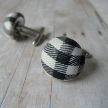 Plaid Fabric Cufflinks, Hipster Cuff Links Black and White Mens Accessories, Preppy Cufflinks, Prepster