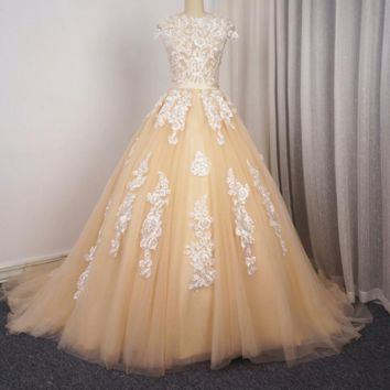 Cap Sleeve Wedding Dresses Ball Gown Champagne with Ivory Floral Lace