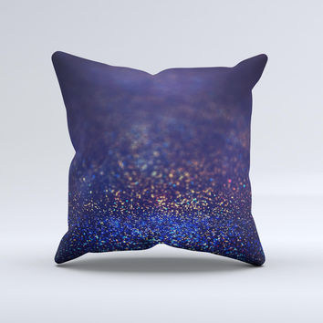 The Deep Blue with Gold Shimmering Orbs of Light ink-Fuzed Decorative Throw Pillow