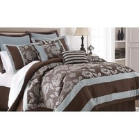 Amrapur Adara 8 Piece Floral Jacquard Comforter Set In Chocolate