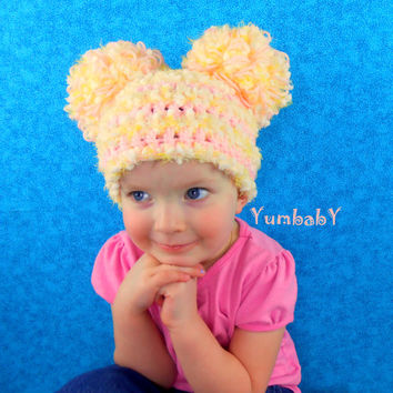 Pink and Yellow Fluffy Double Pom Pom Easter hat photo prop