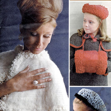 Actual 1960's Vintage Crochet And Knitting Patterns - Coats 79 - Hand Knit Gifts - Cape - Hat And Muff - Crochet Snood