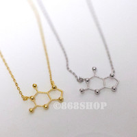 Caffeine Molecule necklace in gold or silver, simple, everyday, chic necklace with 18 inches chain