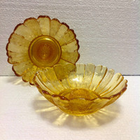 Vintage Pair Mid Century Golden Yellow Sunflower Glass Candle Holders