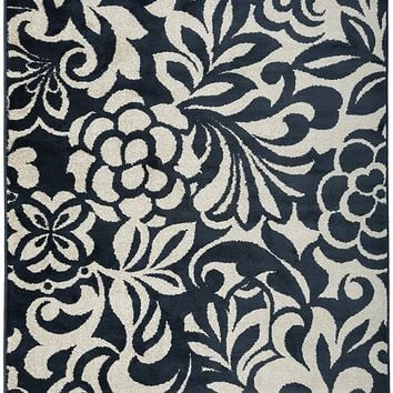 2910 Navy Blue Floral Contemporary Area Rugs