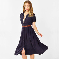Casual Doll Collar Button Down Midi Dress