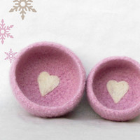 Pink Felted bowl - ballerina Pink with a sweet heart - Set of two - Cozy gift - Baby shower - Valentine