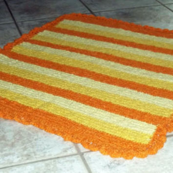Baby blanket, crochet, handmade, made in italy, yellow, orange, stripes, bed, acrylic, linen, cradle, dream, sunrise