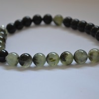Green Prehnite and Black Agate Chunky Gemstone Necklace